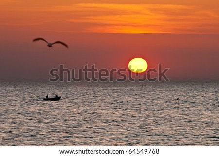 Evening on shore of the Baltic Sea. - stock photo
