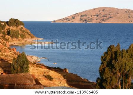 Evening on the Titicaca Lake, Peru - stock photo