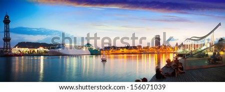 Evening panorama of Barcelona embankment from Port Vell. Catalonia, Spain - stock photo