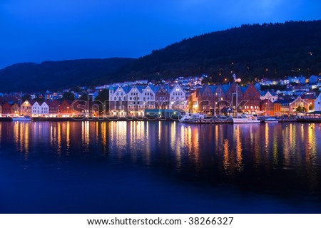 Evening panorama of Bergen, Norway - stock photo