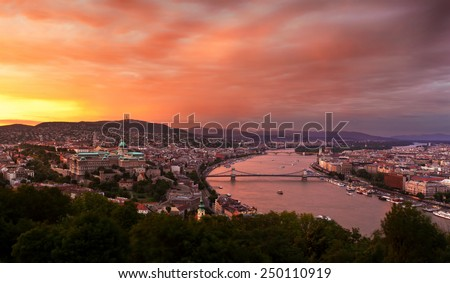 Evening panorama of Budapest at sunset. Hungary. - stock photo
