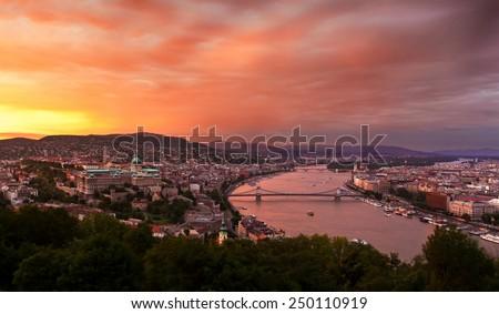 Evening panorama of Budapest at sunset. Hungary. - stock photo