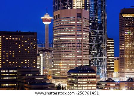 Evening panorama of Calgary. Calgary, Alberta, Canada - stock photo