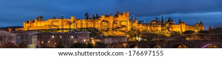 Evening panorama of Carcassonne fortress - France, Languedoc-Roussillon - stock photo