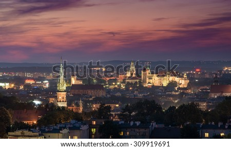 Evening panorama of Krakow old city, Poland, from Krakus Mound