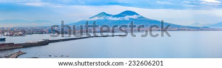 Evening panorama of Naples, view of the port in the Gulf of Naples and Mount Vesuvius. The province of Campania. Italy. - stock photo