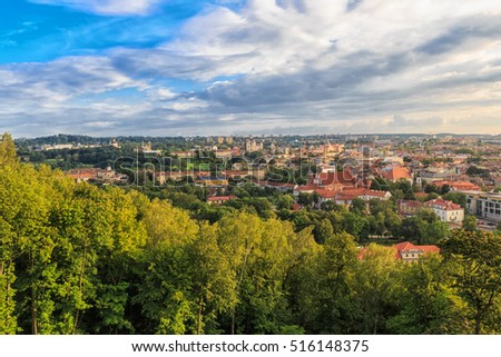 Evening panorama of the city. The historic center of Vilnius