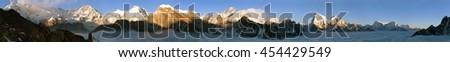 Evening panoramic view of Mount Everest, Lhotse, Makalu and Cho Oyu from Gokyo Ri - Khumbu valley, sagarmatha national park - Nepal - stock photo