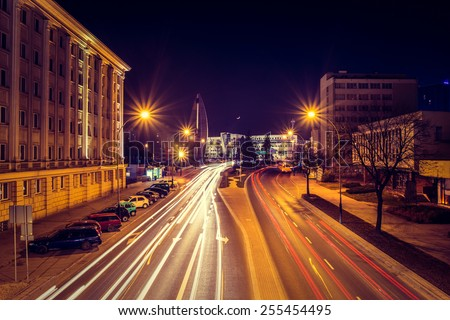 Evening photo of cityscape in Poland with long exposure - stock photo