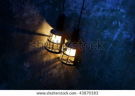 evening picture of a street lamp - stock photo
