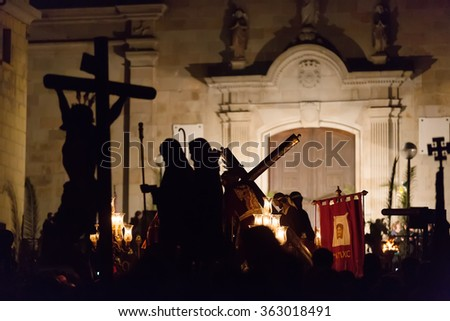 Evening procession during Holy Week in Badalona. Spain