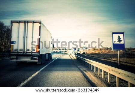 evening  road  - stock photo