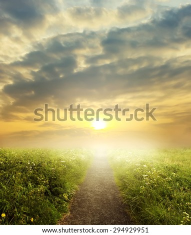 evening road in steppe to sunset - stock photo