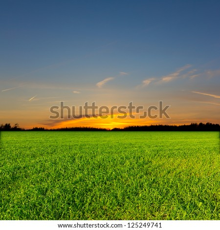 evening rural scene - stock photo