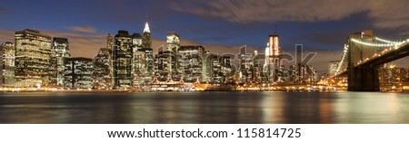 Evening�´s skyline of Manhattan from Brooklyn side, New York, USA - stock photo