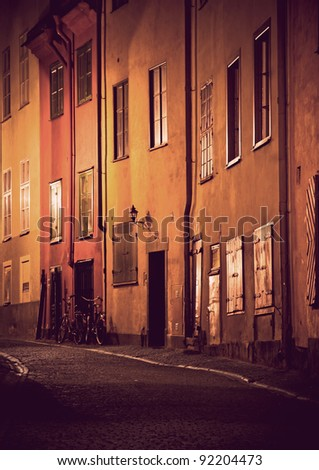 Evening scene from Gamla Stan, the Old Town of Stockholm - stock photo