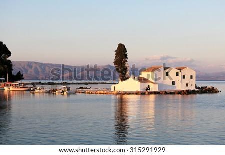 Evening Scene of Vlacherna Monastery, Kanoni, Corfu, Greece - stock photo