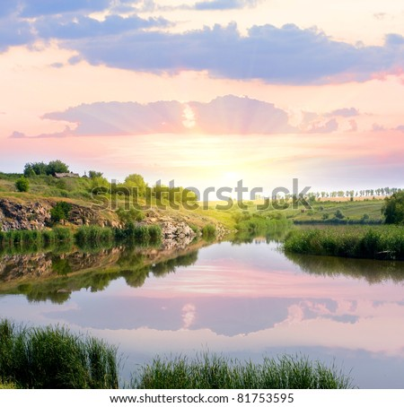 Evening scene on river - stock photo