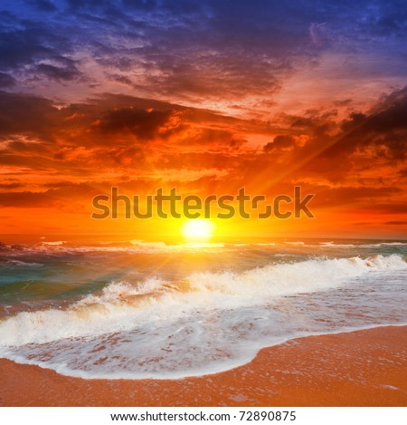 Evening scene with sunset on sea - stock photo