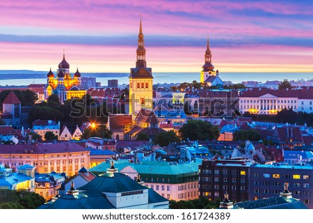Evening scenic summer aerial panorama of the Old Town architecture in Tallinn, Estonia - stock photo