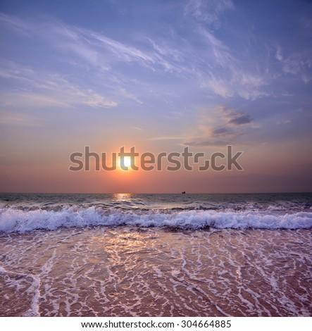 evening sea-piece - stock photo