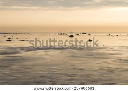 Evening seascape in winter - stock photo