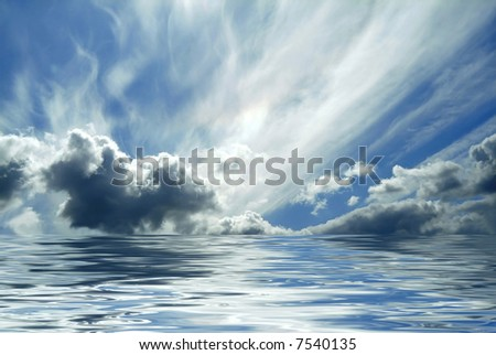 Evening seascape view sky and ocean reflected - stock photo