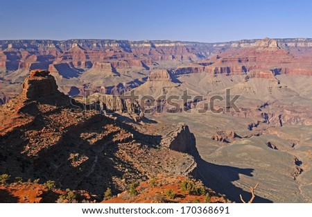 Evening Shadows from Cedar Ridge on the South Kaibab Trail in the Grand Canyon - stock photo