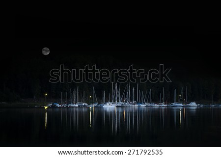 Evening shot of yachts and other small boats moored by small island in Swedish archipelago, with reflection of lights in the dark water and moon in the black sky