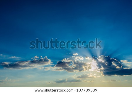 evening sky and sun. Sunset. - stock photo
