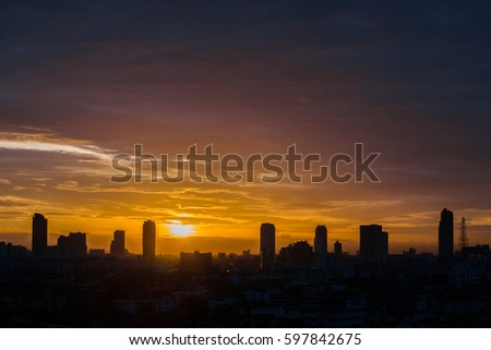 Evening sky landscape view in city