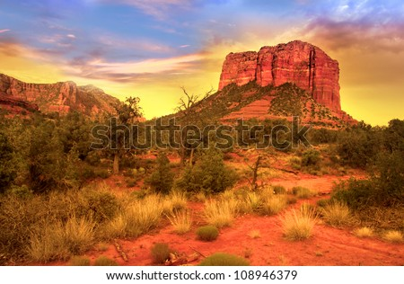 Evening sky over red rock mountains in Sedona - stock photo