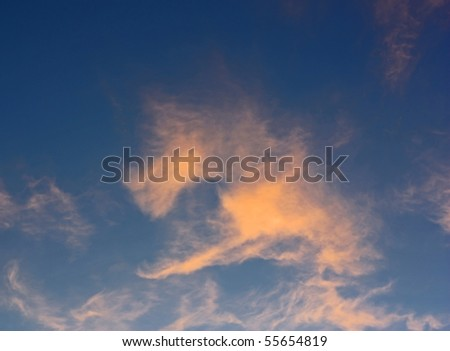 Evening sky with abstract clouds