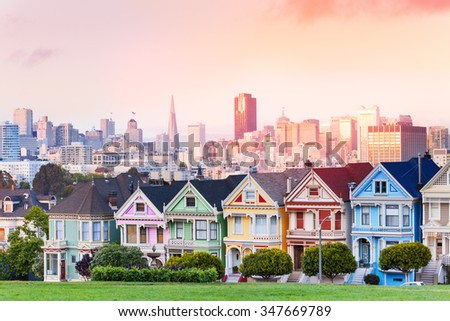 Evening skyline of San Francisco, painted ladies  - stock photo