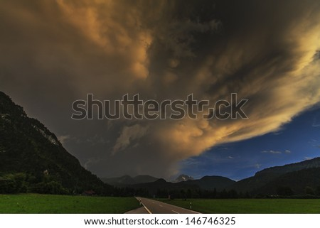 Evening storm and clouds in the mountains