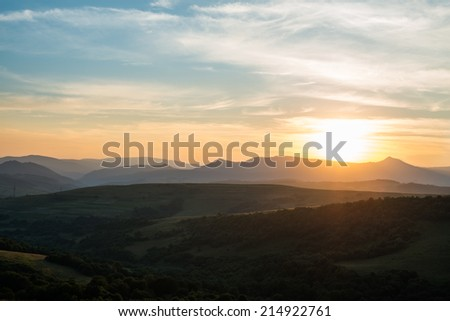 Evening summer landscape in the Ukrainian Carpathian Mountains. - stock photo