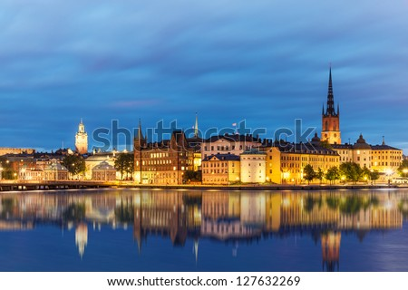 Evening summer scenery of the Old Town (Gamla Stan) in Stockholm, Sweden - stock photo