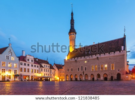 Evening summer scenery of the Town Hall Square (Raekoja Plats) in Tallinn, Estonia - stock photo