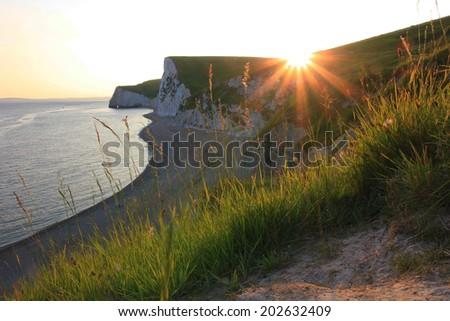 evening sun at jurassic coast, Dorset, south england - stock photo