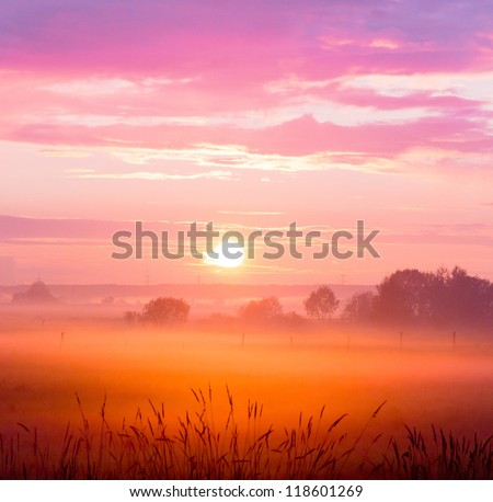 Evening Sun Day Ends - stock photo