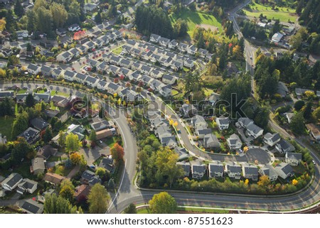 Evening sun shining on a suburban neighborhood in Washington - stock photo
