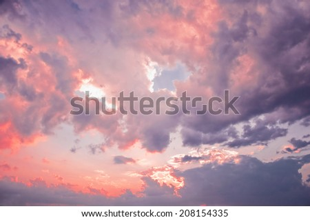Evening sunset sky after the thunderstorm. - stock photo