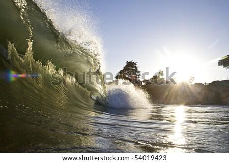evening surf - stock photo