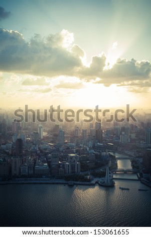 Evening, the Chinese city of Shanghai aerial view - stock photo