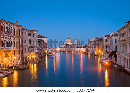 Evening time at grand canal,venice, italy - stock photo