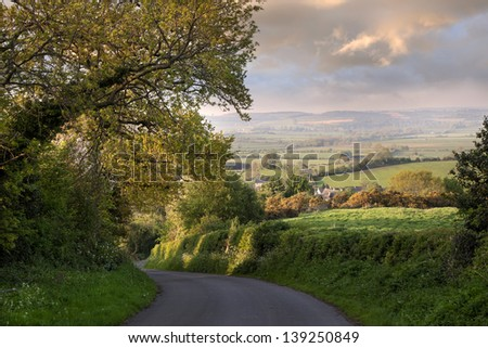 Evening time near the pretty Cotswold village of Ilmington, Warwickshire, England - stock photo