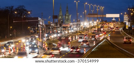 evening traffic cologne germany