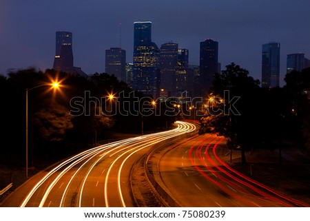 Evening Traffic heading into downtown Houston - stock photo