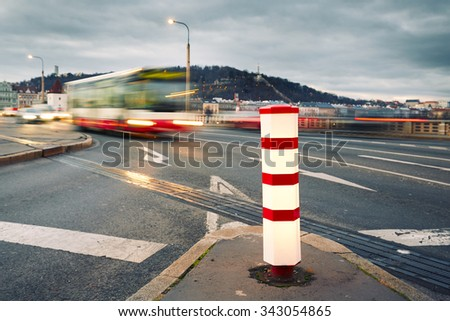 Evening traffic in the city, Prague - blurred motion - stock photo