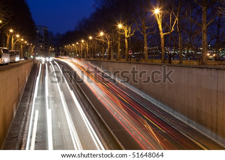 Evening traffic lights, underground road